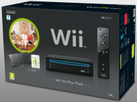 Wii Console Hardware - Black with Wii Fit Plus & Wii Balance Board - Black